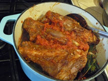 Lamb shanks in pot